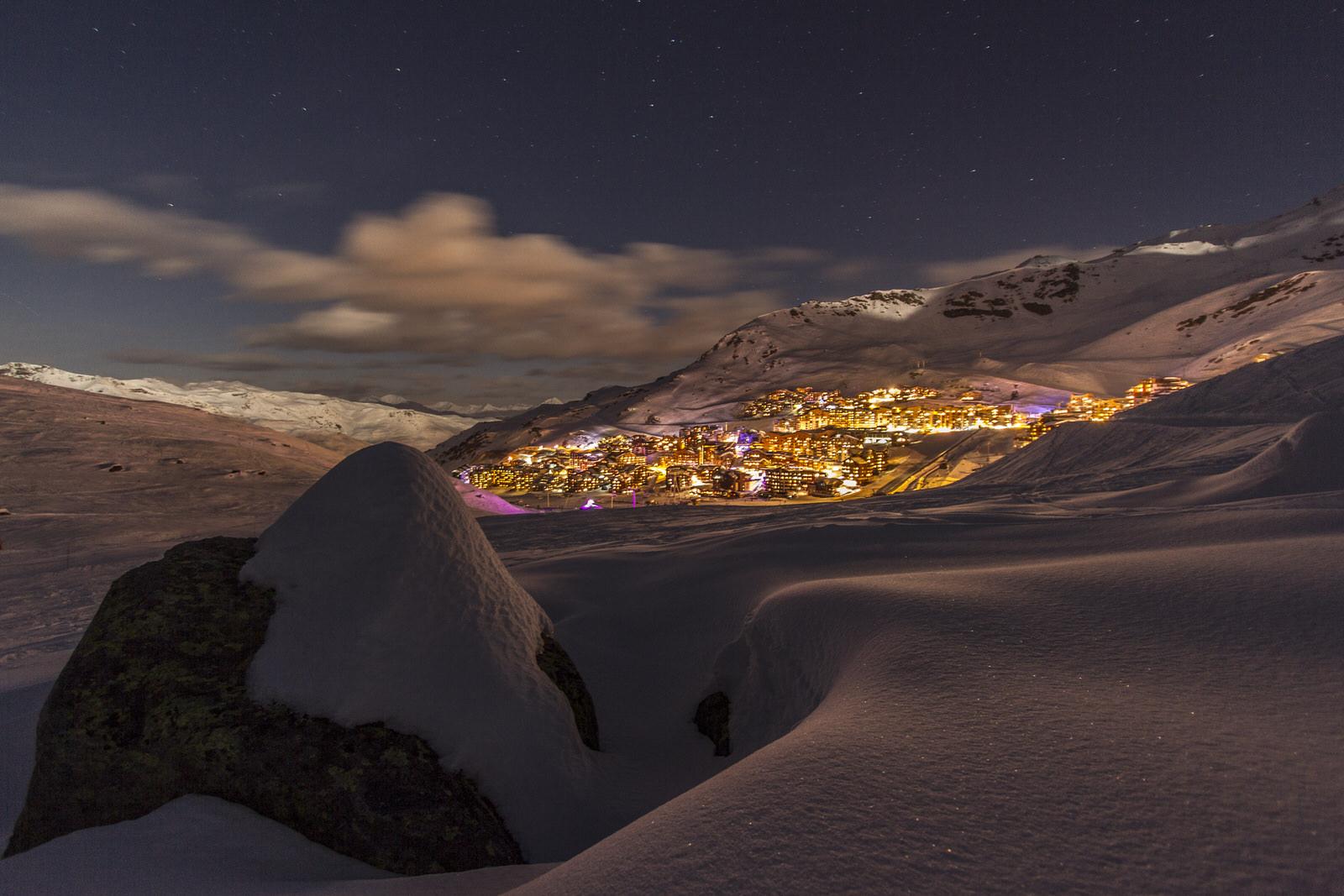 Vue de Val Thorens la nuit - Les 3 Vallées