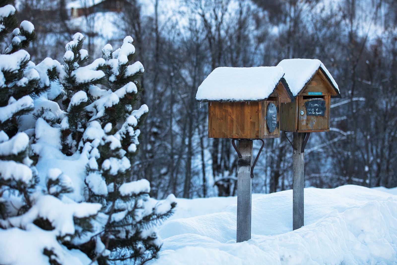 Le village de Saint-Martin-de-Belleville : détail de boîtes aux lettres en bois